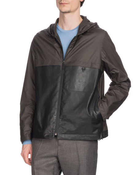 Berluti Men's Nylon & Leather Zip-Front Bomber Jacket