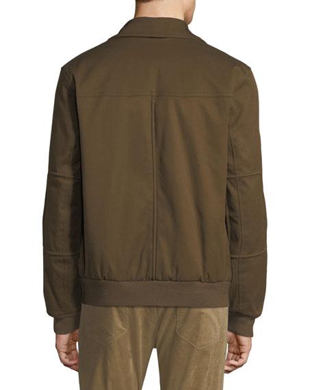 Men's Shearling-Trim Bomber Jacket