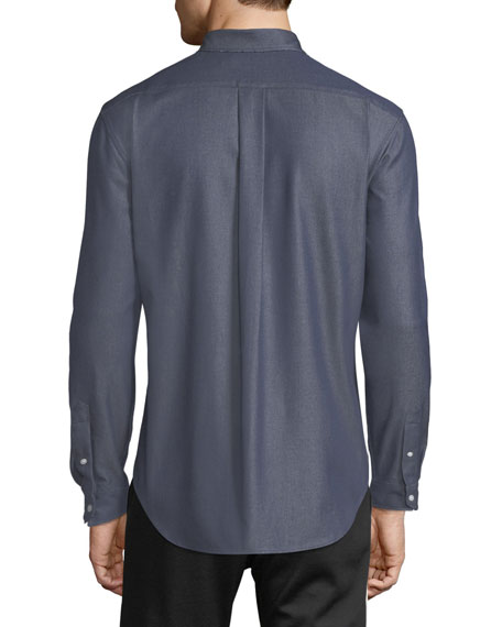 Men's Button-Front Long-Sleeve Twill Shirt