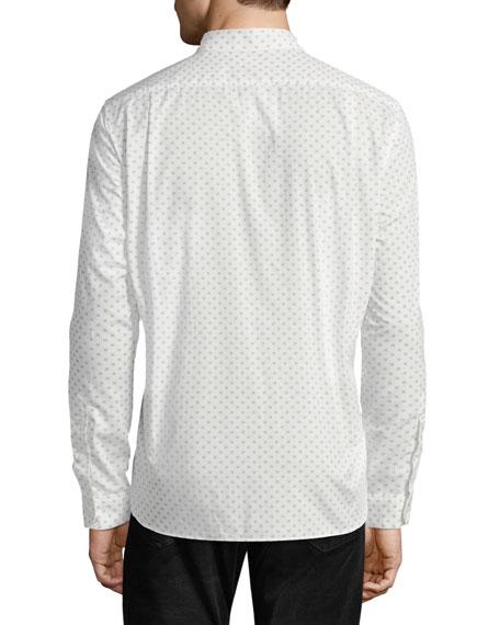 Men's Button-Front Long-Sleeve Sphere-Print Cotton Shirt