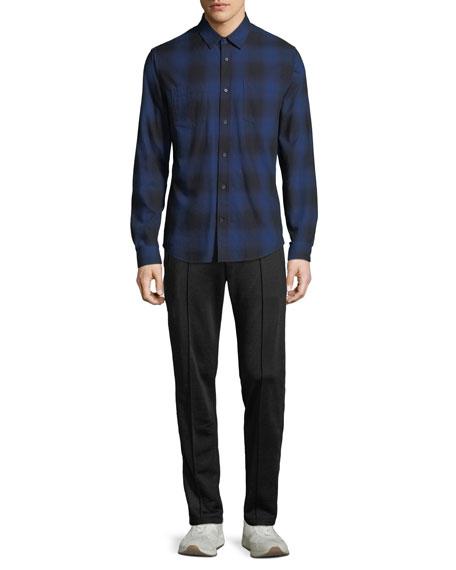 Men's Button-Front Long-Sleeve Shadow Plaid Cotton Shirt