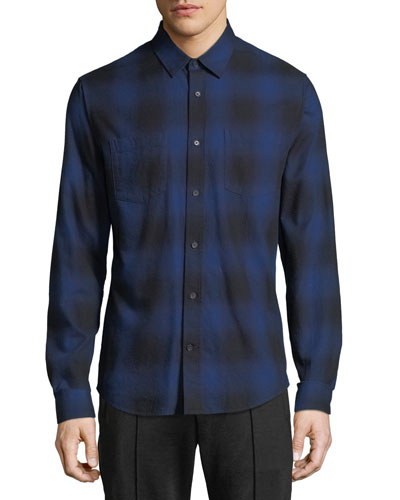Men's Button-Front Long-Sleeve Shadow Plaid Cotton Shirt