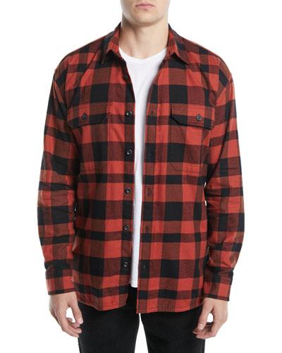 Men's Button-Front Buffalo-Plaid Overshirt