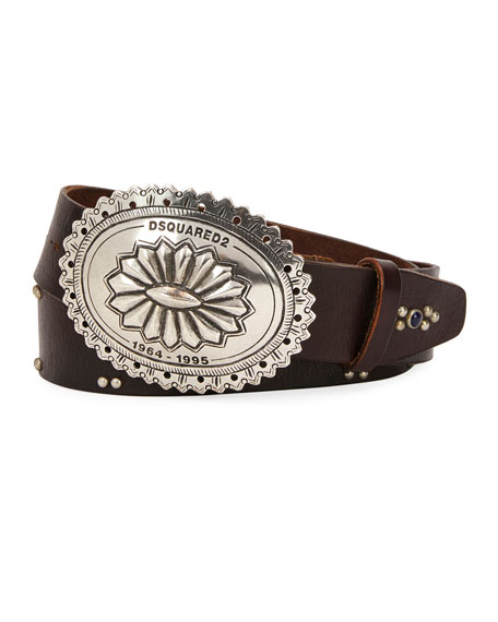 Men's Studded Leather Belt with Western Buckle