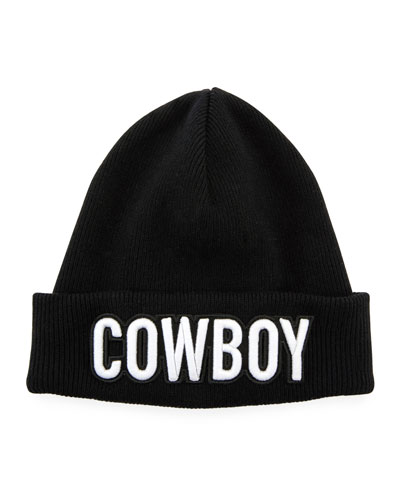 Men's Cowboy Patch Ribbed Beanie Hat