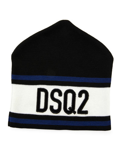 Men's Striped Logo Beanie Hat