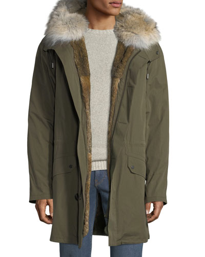 Men's Classic Long Fur-Trim Parka Coat