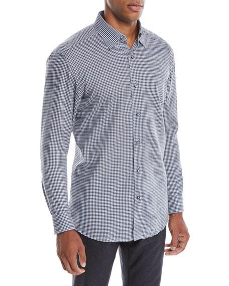 Ermenegildo Zegna Men's Woven Small-Check Sport Shirt