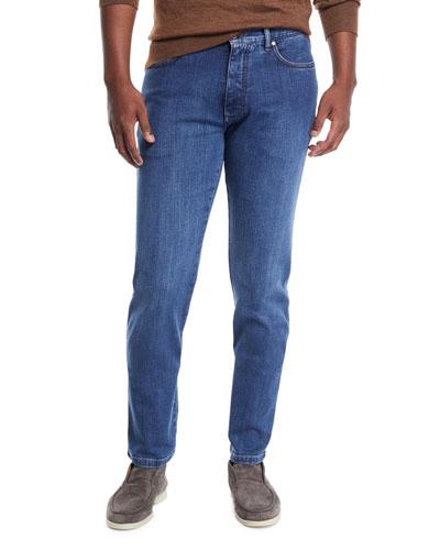 Men's Stretch-Denim Straight-Leg Jeans