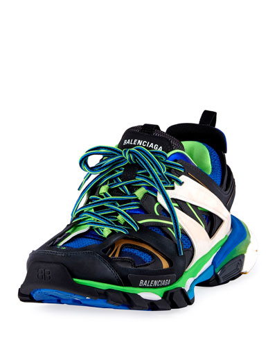Men's Runway Track Sneakers  Blue/Green