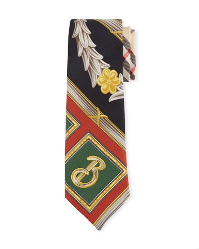 Graphic Print Silk Tie