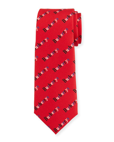 Men's Heritage Burberry's Logo-Print Tie, Parade Red