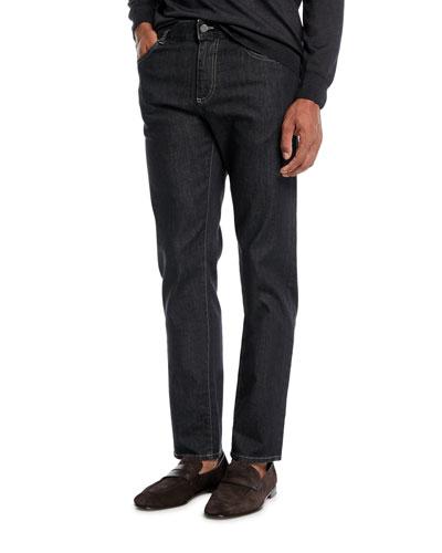 Men's Charcoal-Wash Stretch-Denim Jeans