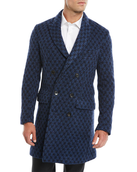 Men's Double-Breasted Jacquard Knit Coat w/ Patchwork Paisley Lining