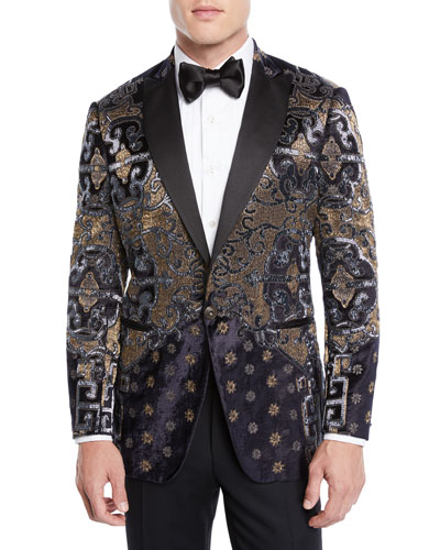 Men's Paisley Embroidered Velvet Dinner Jacket