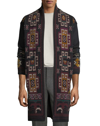 Men's Carpet Knit Long Open-Front Cardigan