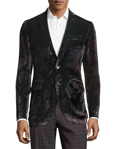Men's Velvet Paisley One-Button Jacket