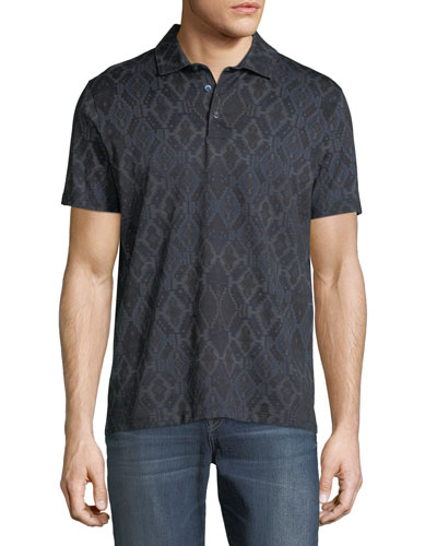 Men's Tapestry-Print Cotton Polo Shirt
