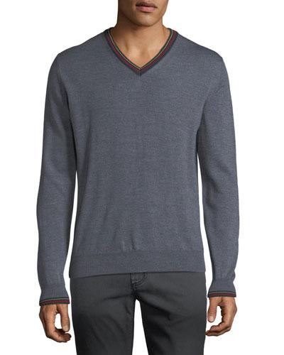 Men's Collegiate V-Neck Wool Sweater