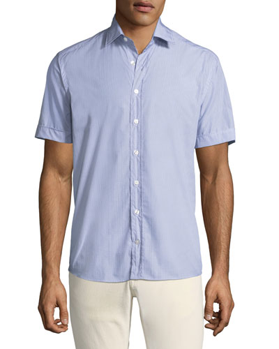 Men's Geometric Print Button-Down Shirt