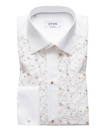 Men's Contemporary-Fit Floral-Detail Formal Dress Shirt