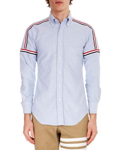 Men's Button-Down Point-Collar Oxford Shirt w/ Elastic Stripe Details
