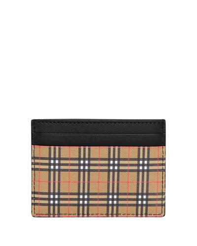 Men's Mini Vintage Check Card Case Wallet