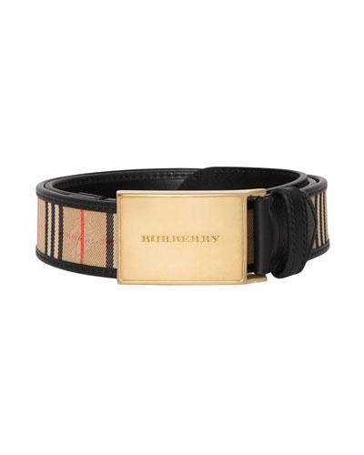 Men's 1983 Check Leather-Trim Belt
