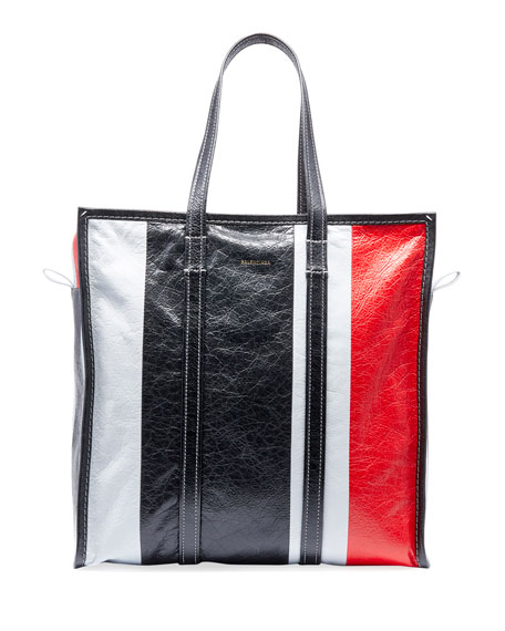 Balenciaga Men's Bazar Medium Striped Leather Shopper Tote
