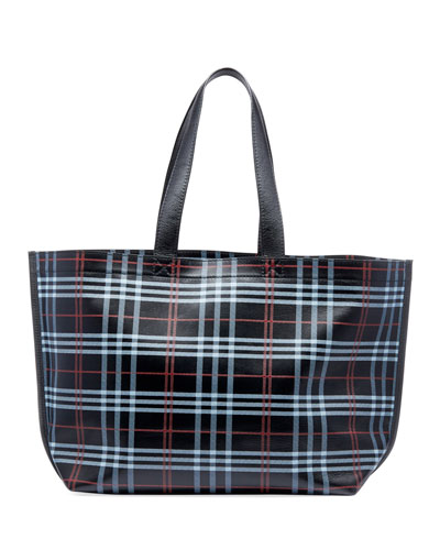 Men's Plaid Leather Supermarket Tote Bag