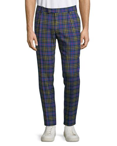 Men's Soho Tartan Plaid Straight-Leg Pants