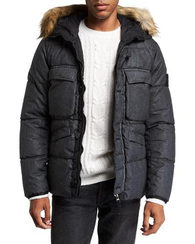Mens Down Puffer Coat With Faux Fur Trim