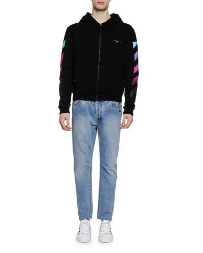 Men's Diagonal Gradient Zip-Front Hoodie Sweatshirt
