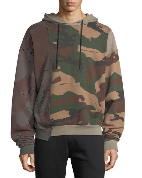 Off White Mens Reconstructed Camo Print Hoodie Sweatshirt