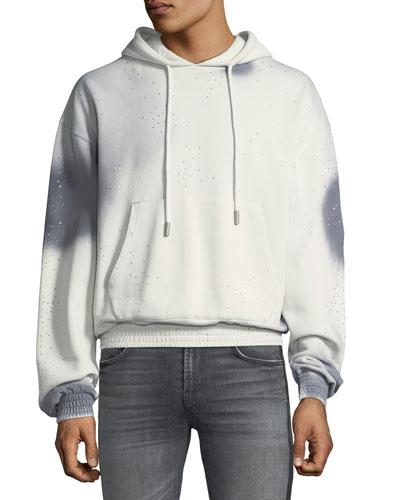 Men's Spray-Over Distressed Hoodie Sweatshirt
