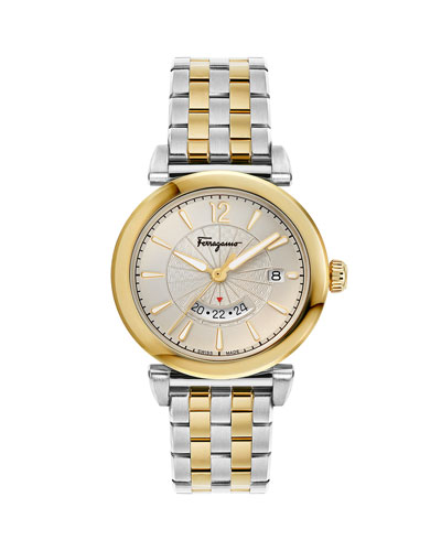 Men's Feroni Two-Tone Bracelet Watch  Silver/Gold IP