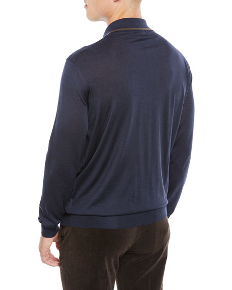 Men's Wool-Blend Long-Sleeve Polo Shirt