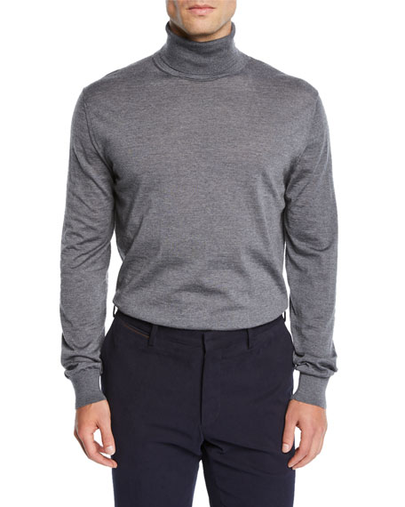 Men's Heathered Wool Turtleneck Sweater