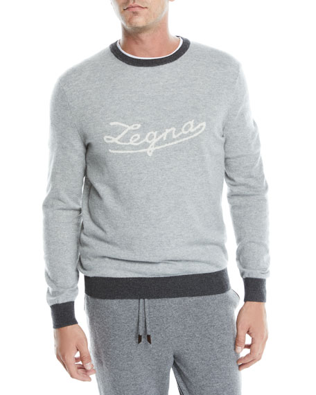 Men's Cashmere Logo Pullover Sweater