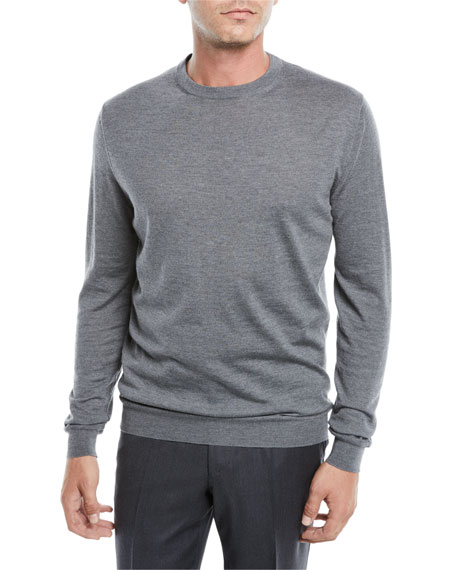 Ermenegildo Zegna Men's Crewneck Sweater, Medium Gray