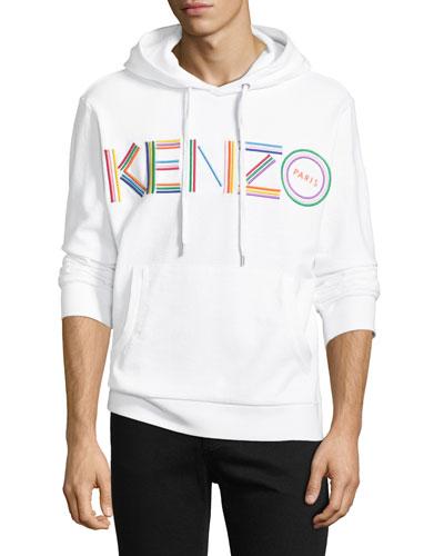 Men's Multicolor Logo Embroidered Pullover Cotton Hoodie Sweatshirt