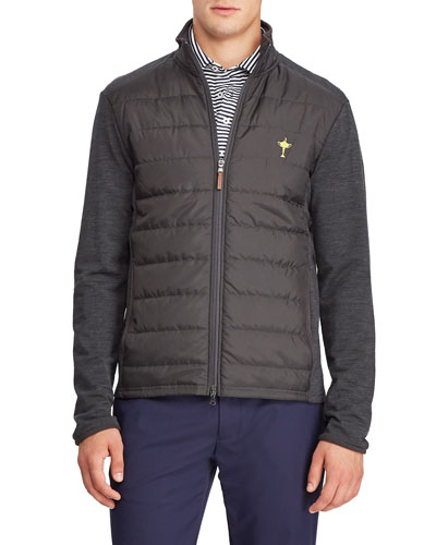 Men's Quilted Insulated Golf Jacket with Wool Trim