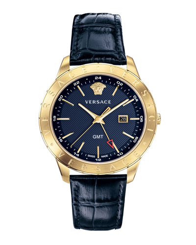 Men's Univers 43mm Watch w/ Leather Strap  Blue/Champagne