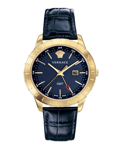 Men's Univers 43mm Watch w/ Leather Strap, Blue/Champagne