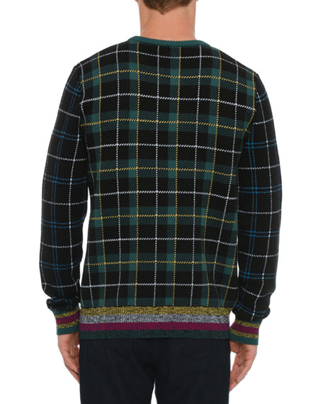 Men's Medusa Head Plaid Sweater