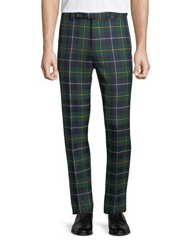 Men's Tartan Plaid Side-Strip Cropped Pants