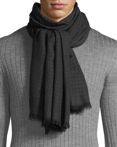 Men's Houndstooth Woven Wool Scarf