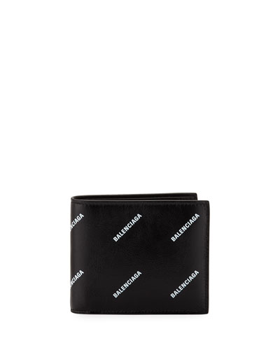 Men's Logo-Print Leather Bi-Fold Wallet
