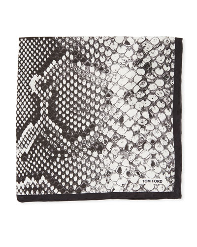 Snake-Print Silk Pocket Square