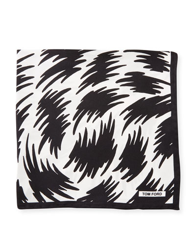 Graphic-Print Silk Pocket Square